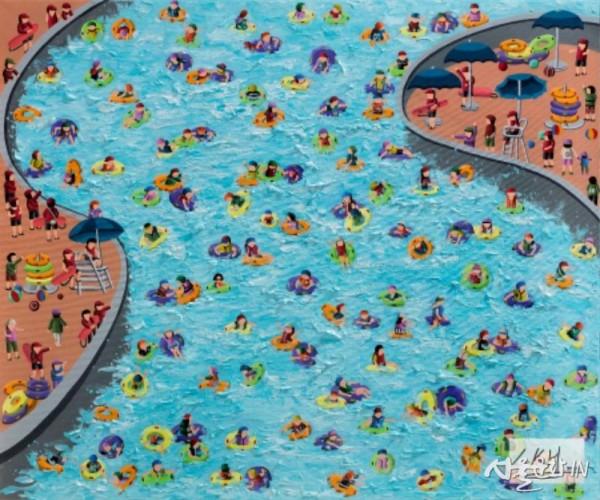 이경현 워터마크_Swimming pool,  60X72cm,  acrylic on canvas,  2018.jpg