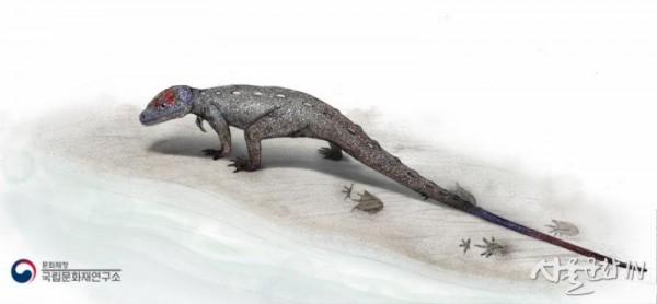 노바페스 울산엔시스(Novapes ulsanensis) 발자국을 남긴 코리스토데라 복원도 01.jpg